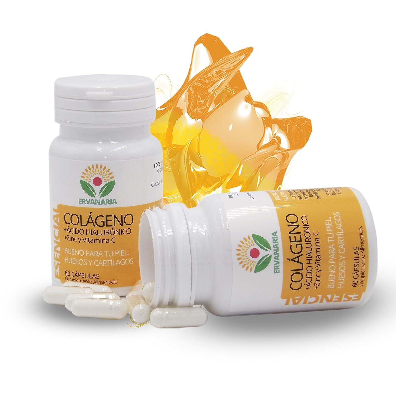 Colágeno Hidrolizado Ácido Hialurónico, Zinc Vitamina C .60 Cáp. Mejora Elasticidad Y Salud de Cartílagos, Articulaciones, Tendones y Huesos.