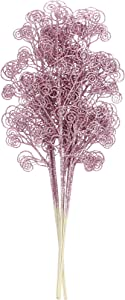 Sea Team 12-Pack Glitter Stem Ornaments, Decorative Curly Sticks, Glittery Twigs, Picks, Branches for Christmas Tree, Small Vase, Holiday, Wedding, Party (27 Inches, Pink)