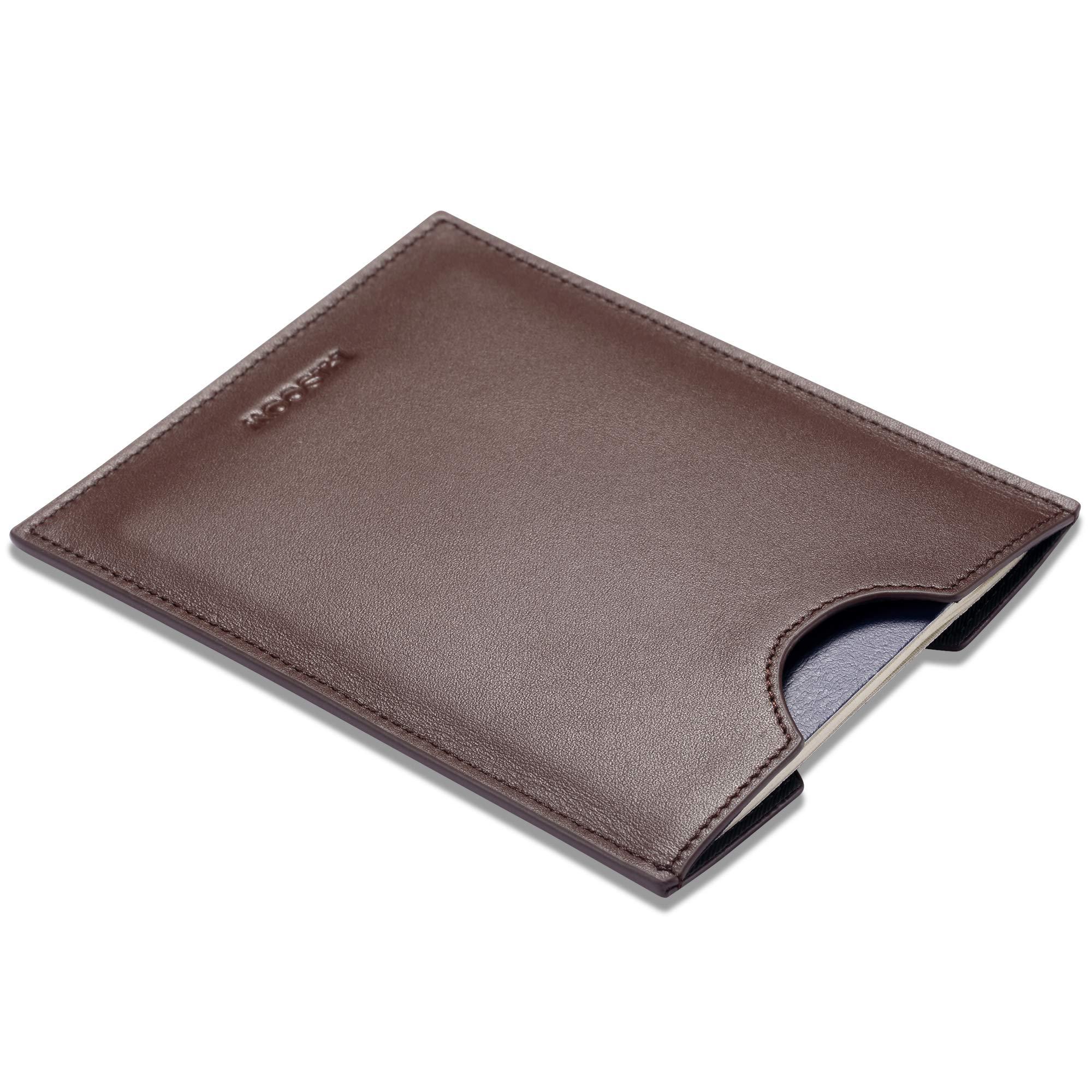 HISCOW Minimalist Passport Sleeve - Italian Calfskin (Brown) by HISCOW