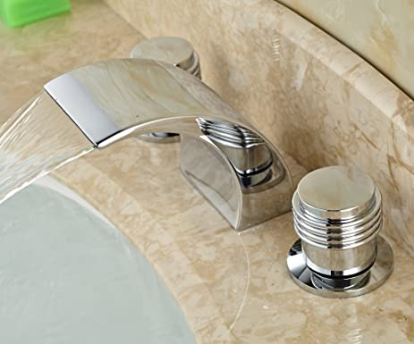Rozin Chrome Waterfall Spout Bathroom Sink Faucet Dual Knobs Mixer Tap