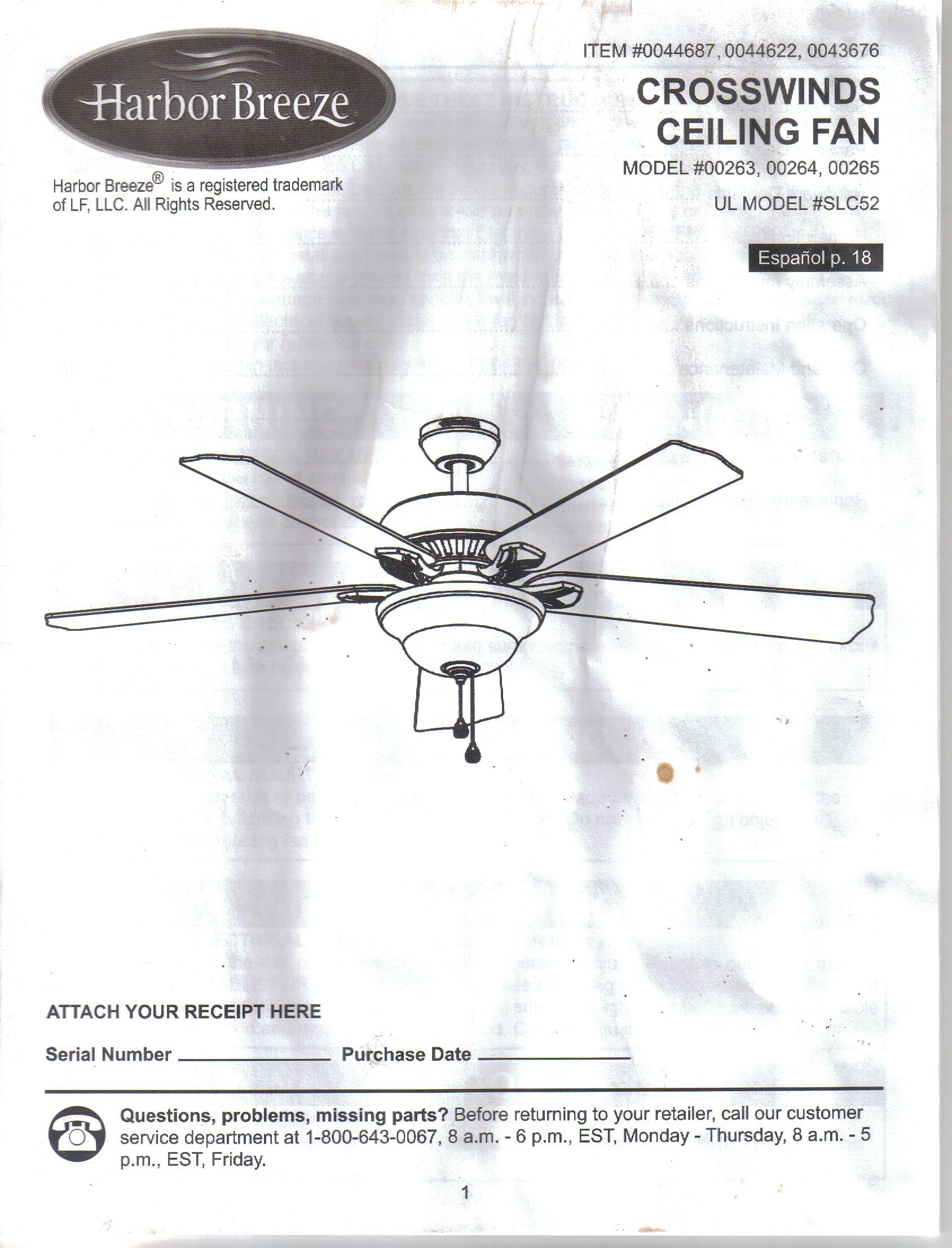 harbor breeze crosswinds ceiling fan instruction installation guide rh amazon com harbor breeze ceiling fan manual 3 blade harbor breeze ceiling fan manual 3 blade