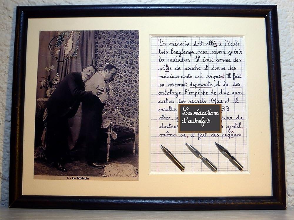 Tableau avec photo ancienne et texte sur le m/étier de m/édecin ou docteur
