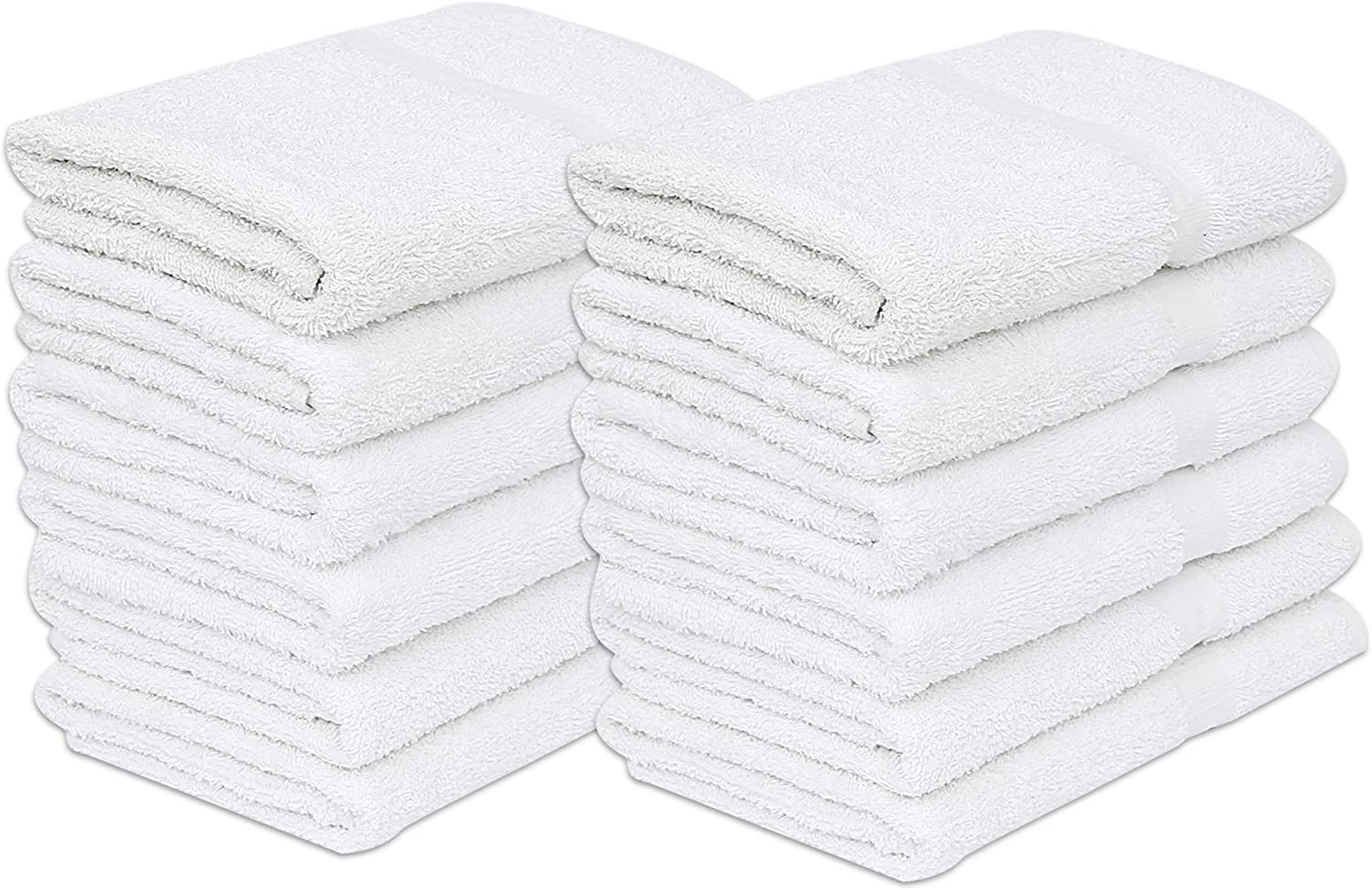 GOLD TEXTILES 12 Pack White Economy Bath Towel (24x 48 Inch) Cotton Blend for Softness Easy Care-Home,spa,Resort,Hotels/Motels,Gym use (12)