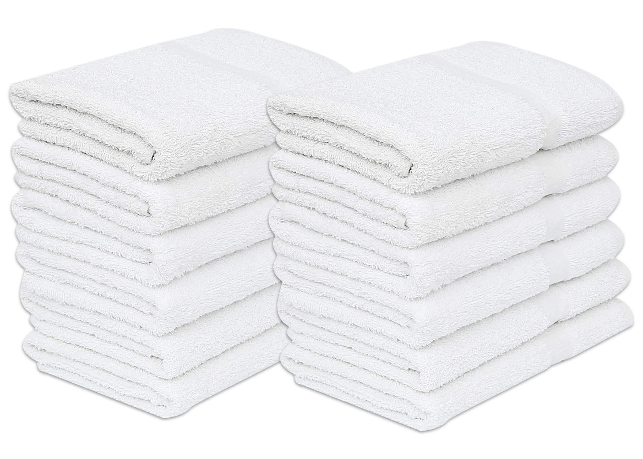 GOLD TEXTILES 12 Pack White Economy Bath Towel (24''x 48'') 100% Cotton for Maximum Softness Easy Care-Home,spa,Resort,Hotels/Motels,Gym use (12)