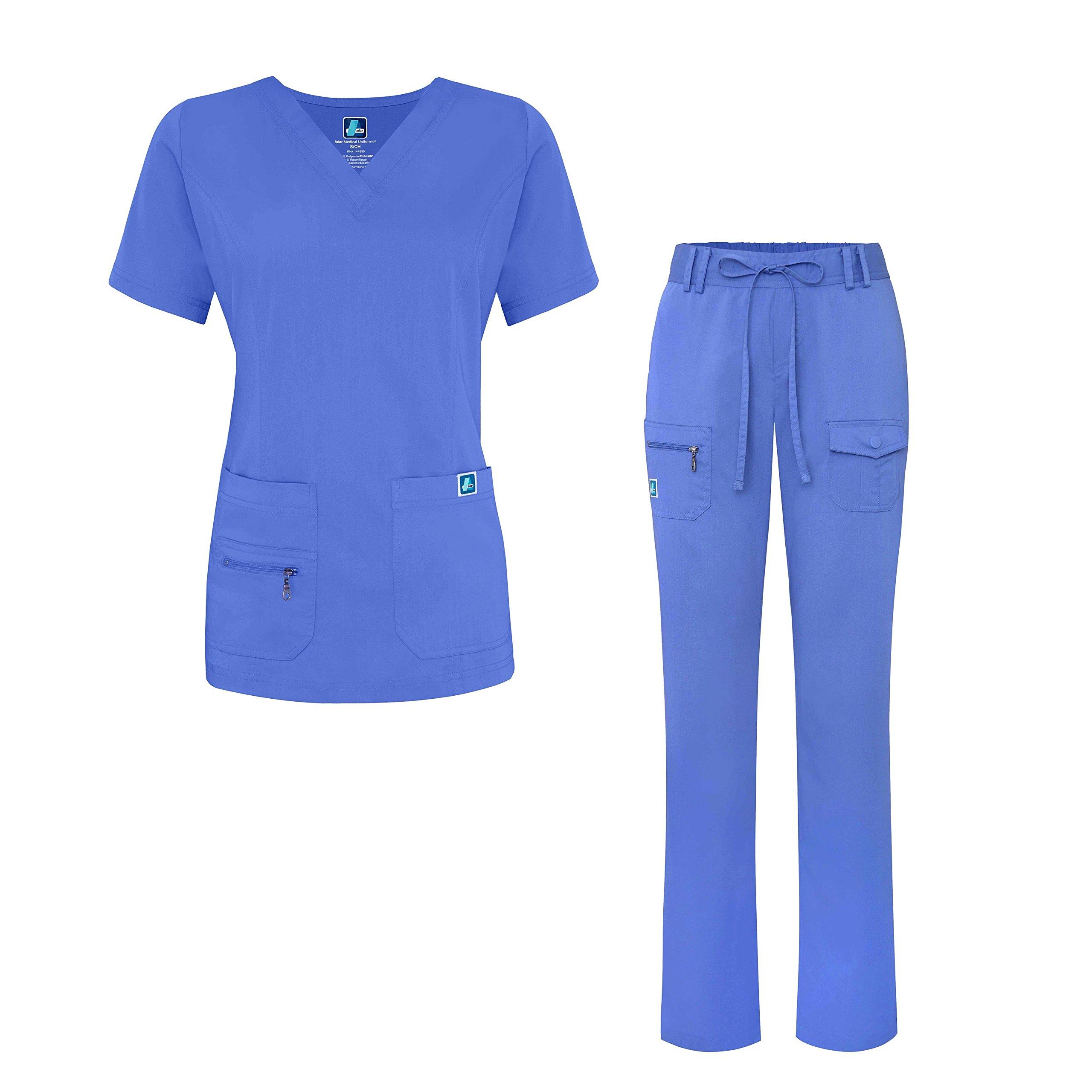 Adar Indulgence Jr. Fit Women's Scrub Set - Enhanced V-Neck Top/Multi Pocket Pants - 4400 - Ceil Blue - S