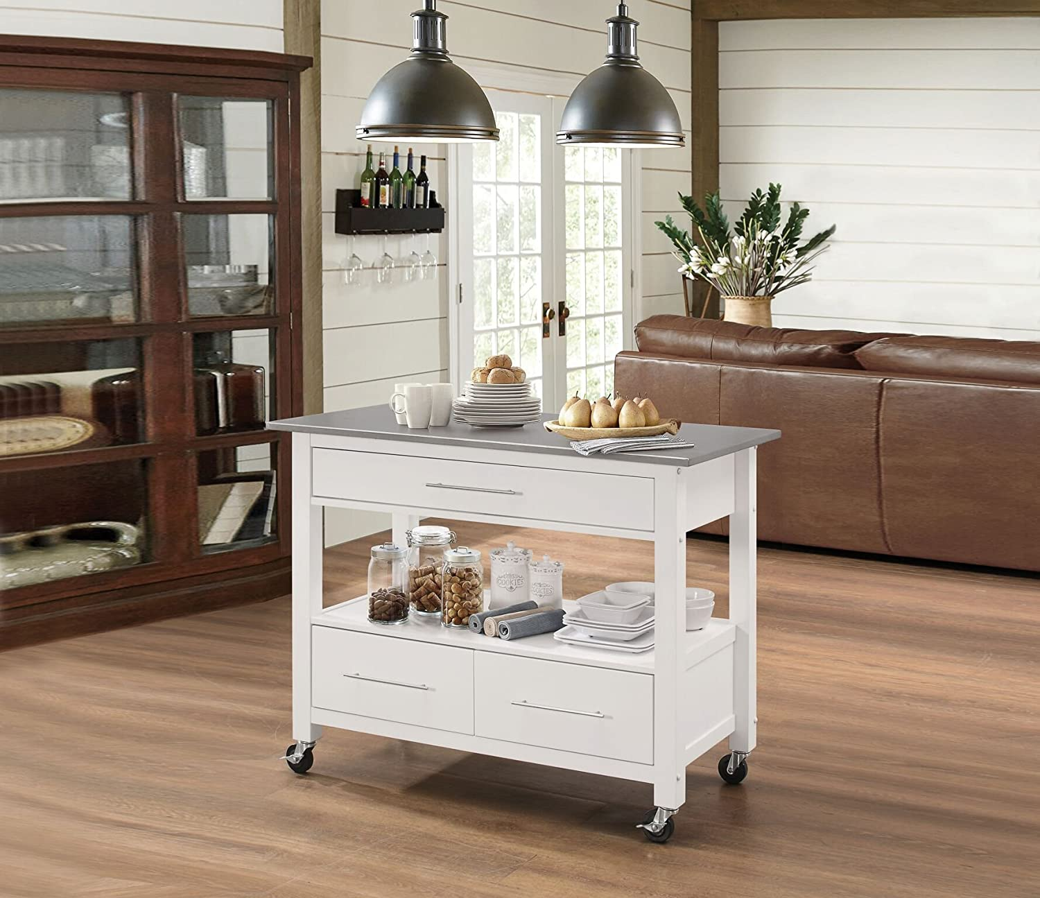 Major-Q 9098330 Stainless Steel and White Finish Wheeled Kitchen Island  Cart with Drawers and Open Storage