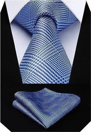 HISDERN Panuelo de corbata y panuelo de corbata a cuadros Wedding ...