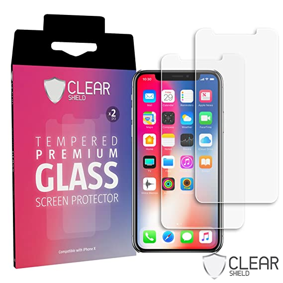 online retailer f2d41 296ed [2 Pack] Premium iPhone X 10 Tempered Glass Screen Protector - HD Clear,  Case Friendly, Anti-Scratch - Free How to Install Video