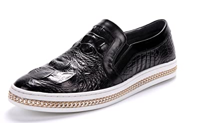Men's Leather Alligator Grain Causal Metal Chain Penny-loafer-JS-A09-105