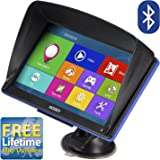 Xgody 886 Bluetooth Car Truck GPS Navigation System 16GB (8GB ROM + 8GB TF Card ) 7 Inch with Sun Shade Capacitive Touchscreen SAT NAV Navigator Support Lifetime Maps Update with Sun Shade(886BT+TF)