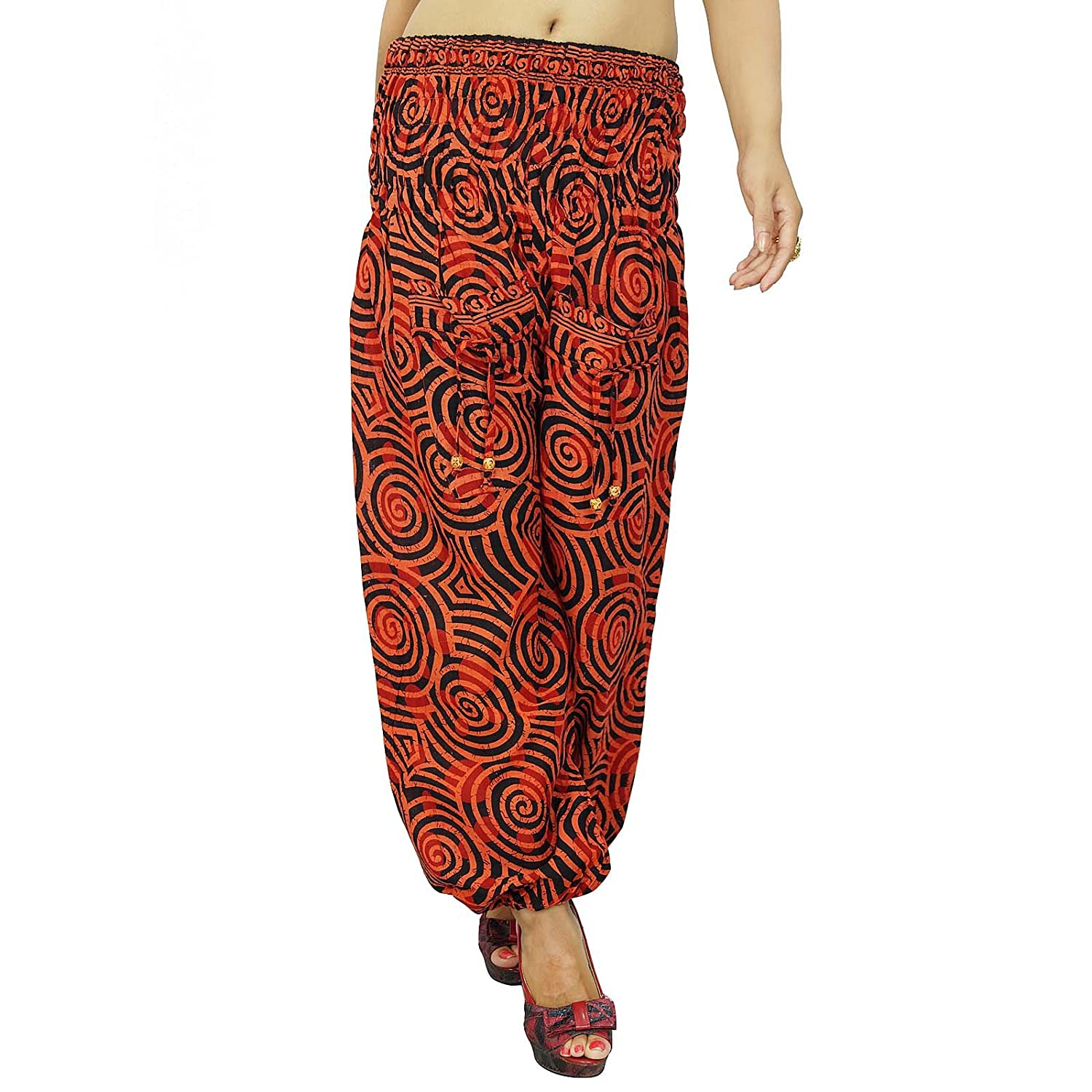 Orange Abstract Harem Gypsy Hosen Elastische Pants Mit Spiegel Pailletten