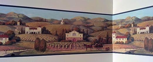 Wine Vineyard Winery Grapes Wallpaper Border Amazon Com