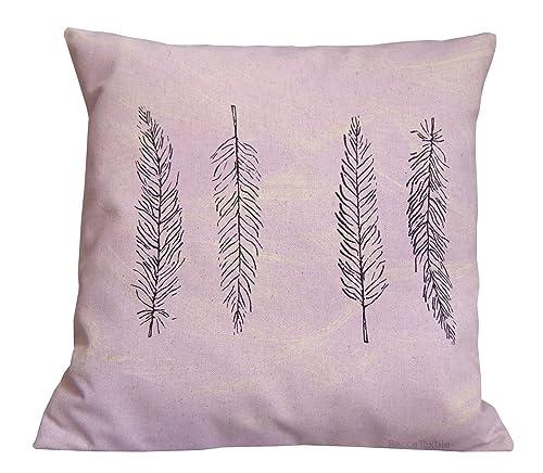 Cojín plumas lila,funda de cojín de lino algodón 40 x 40 cm ...