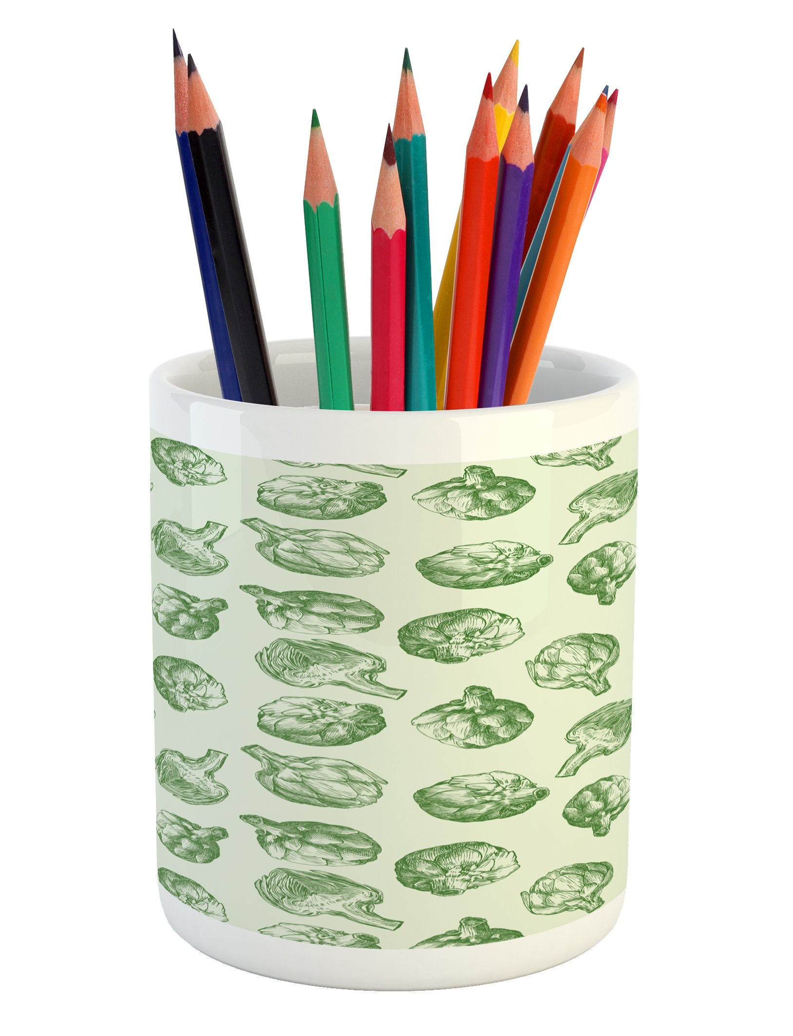 Ambesonne Artichoke Pencil Pen Holder, Fresh and Green Artichokes Hand Drawn Nature Agriculture Harvest Artwork Print, Printed Ceramic Pencil Pen Holder for Desk Office Accessory, Fern Green
