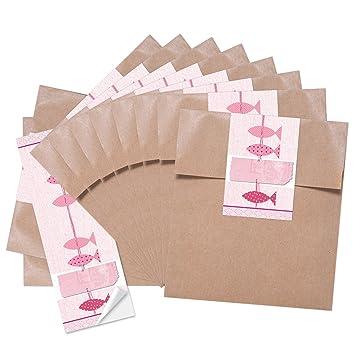 10 pequeñas bolsas de papel marrón 13 x 18 + 10 aufkelber 3 ...
