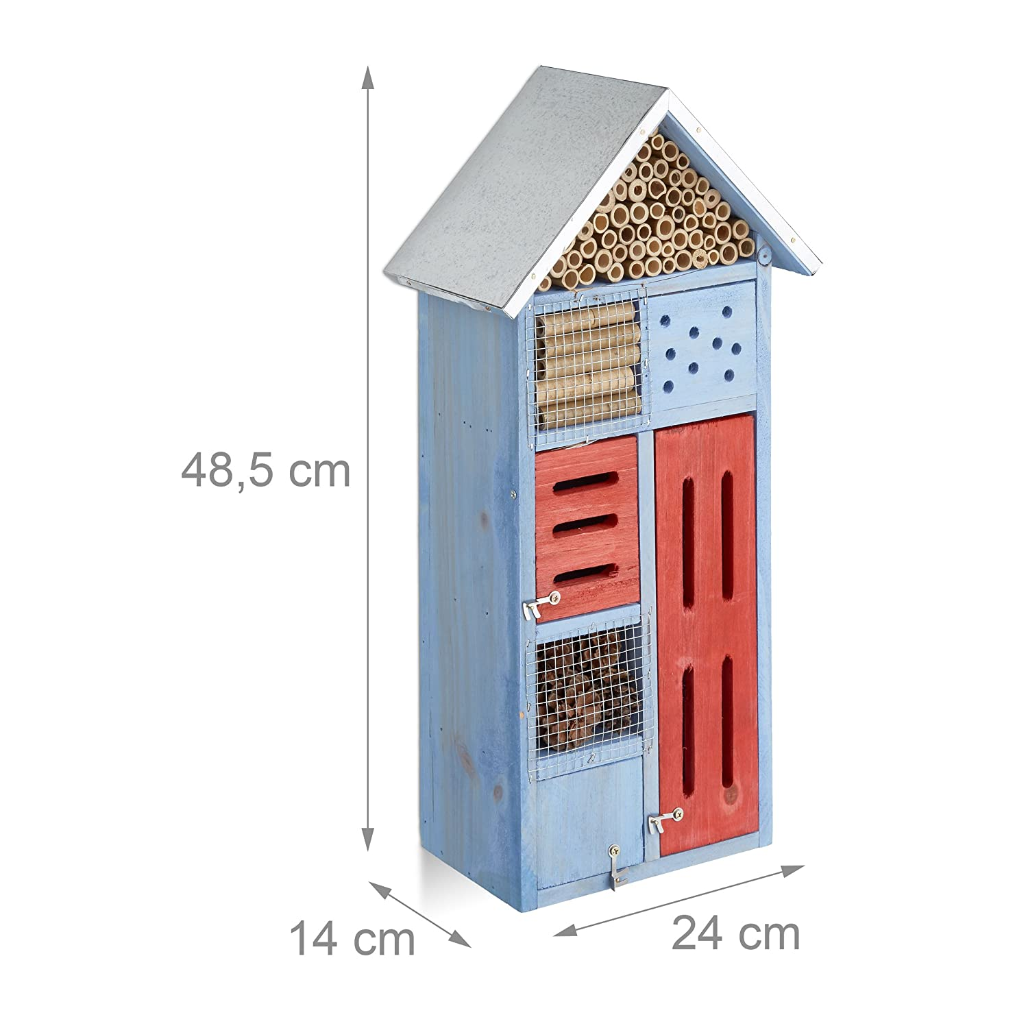 Nest Aid for the Balcony HxWxD: 48.5 x 24 x 14 cm Blue for Bees /& Butterflies Relaxdays Insect Hotel with Metal Roof