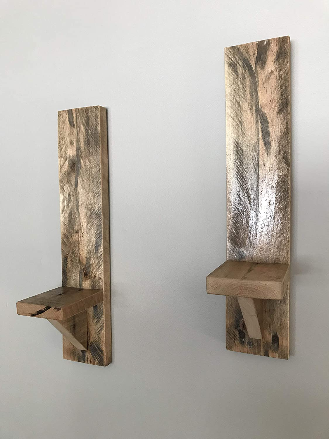 Amazon Com Pair Rustic Recycled Pallet Wood Wall Sconce