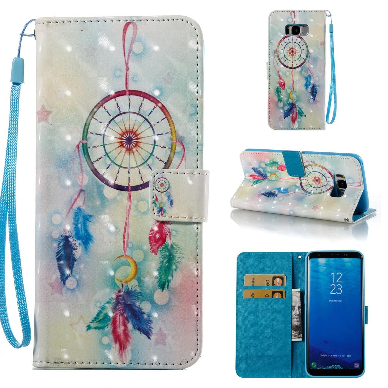 Firefish Galaxy S8 Plus Case,Durable PU Wallet Cover Kickstand Case Credit Card Holder Flip Folio Shell with Strap with Magnetic Closure Birthday Gift Christmas Halloween for Samsung Galaxy S8 Plus