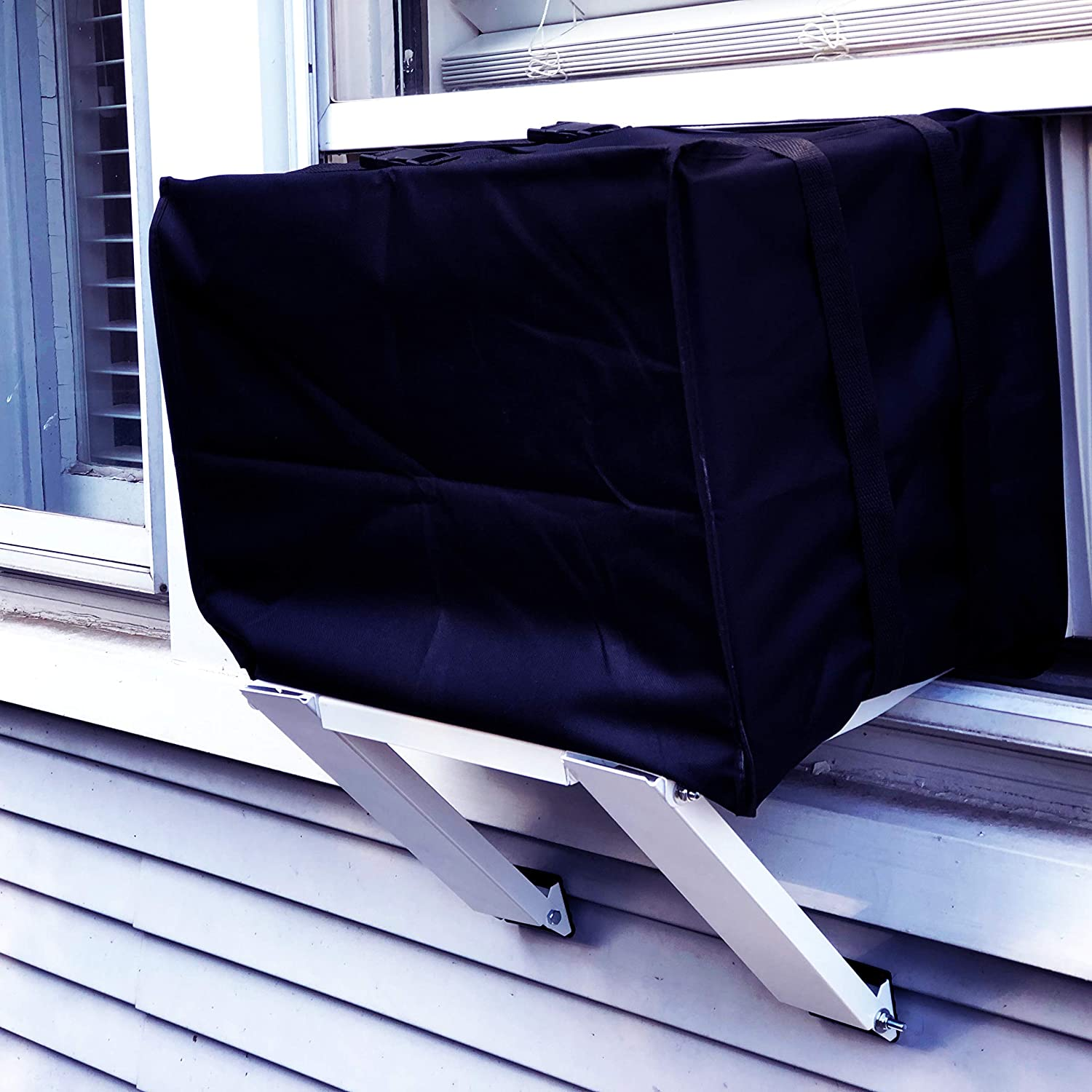 ALPINE HARDWARE Outdoor Window AC Covers Window Air Conditioner Protection Cover Black, 19 x 27 x 25