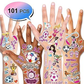 Amazon.com : Konsait 101 PCS Soccer Temporary Tattoos Football Ball ...