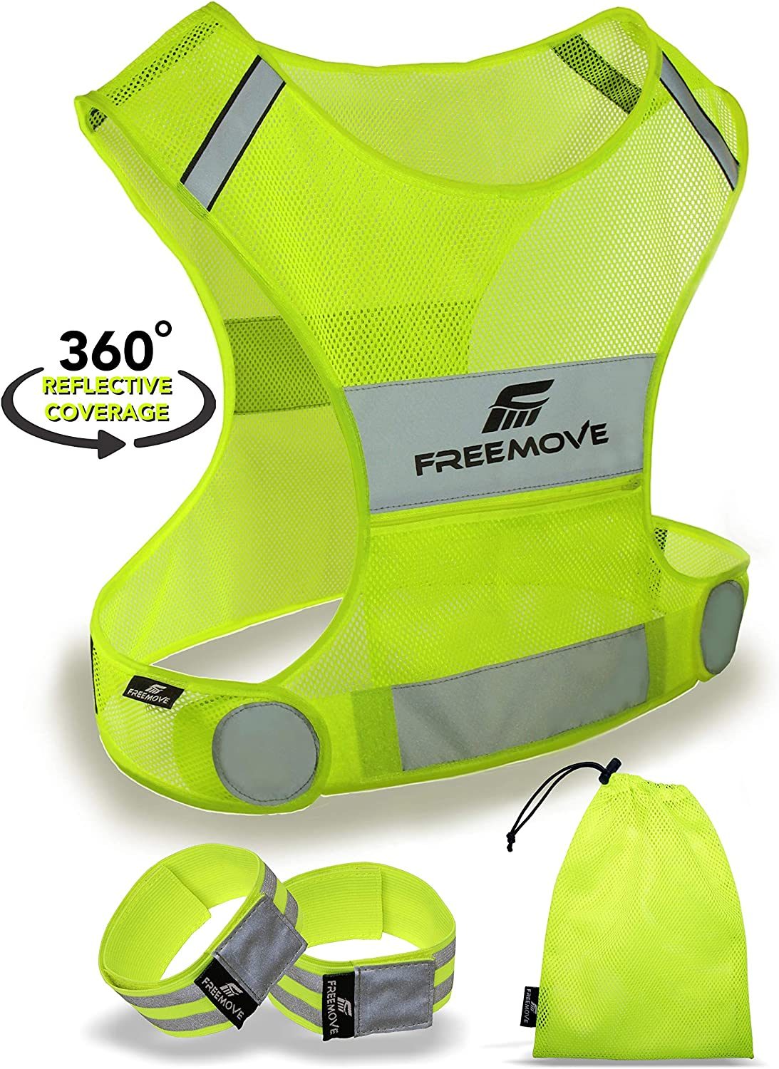 No.1 Reflective Vest Running Gear | YOUR BEST CHOICE TO STAY VISIBLE | Ultralight & Comfy Motorcycle Reflective Vest | Large Pocket & Adjustable Waist | Safety Vest in 6 Sizes + Hi Vis Bands & Bag : Sports & Outdoors