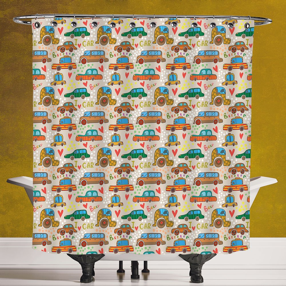 Funky Shower Curtain 3.0 [Cars,Cute Cartoon Style Car Pattern Children Drawing Beep I Love Car Colorful Design Print,Multicolor] Polyester Fabric Bathroom Shower Curtain