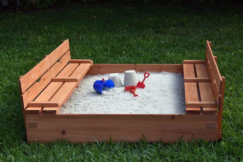 Naomi Home Kids Cedar Sandbox with 2 Benches by Naomi Home