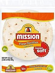 Mission Soft Taco Flour Tortillas, Trans Fat Free, Authentic, Medium Size, 10 Count