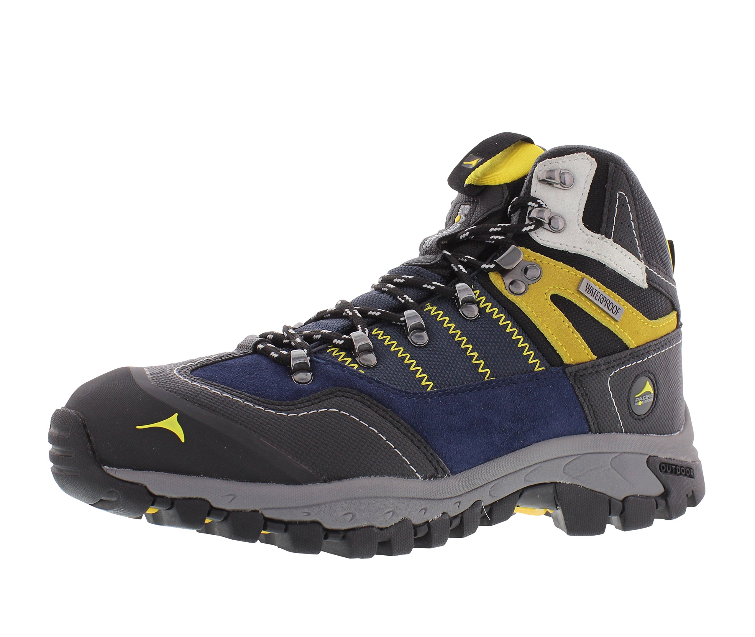 Pacific Mountain Ascend Men's Waterproof Hiking Backpacking Mid-Cut Navy/Black/Yellow Boots Size 11.5