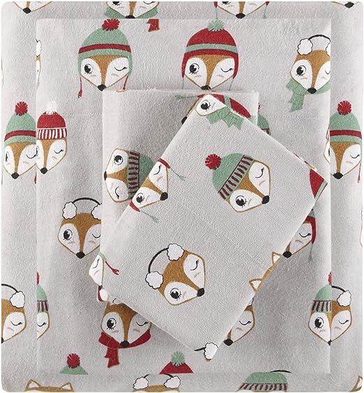 Amazon Com Intelligent Design Id20 1545cozy 100 Cotton Flannel Novelty Print Animals Stars Cute Warm Ultra Soft Cold Weather Sheet Set Bedding Twin Xl Grey Foxes 3 Piece Home Kitchen