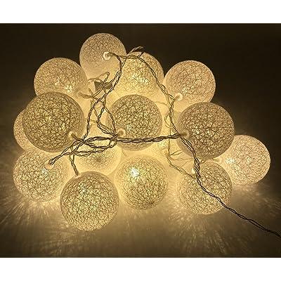 Viktion - 3M 20pcs LED Boule de Coton LED guirlande lumineux à 2 ...