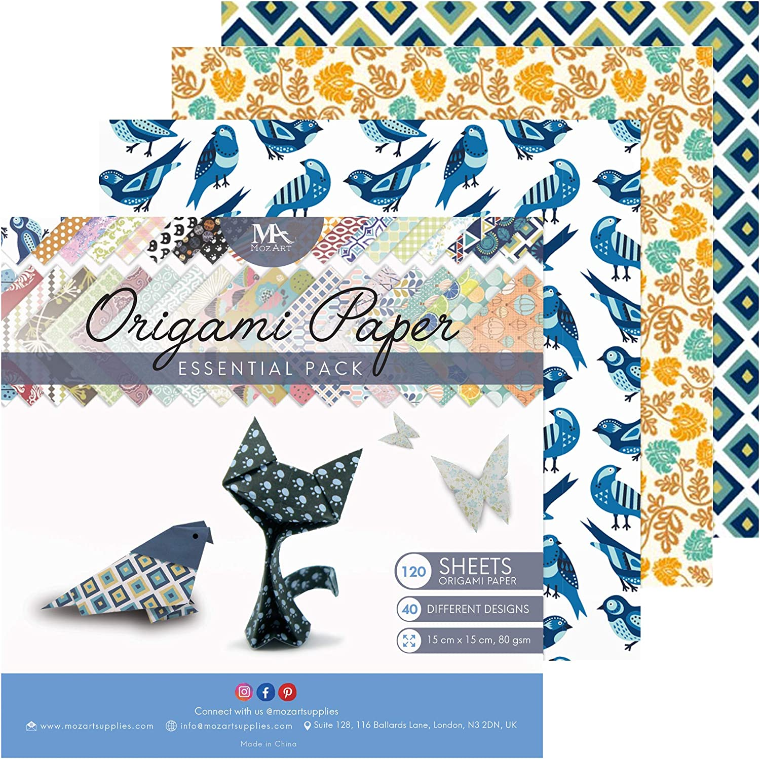 Origami Paper Set - 120 Sheets - Traditional Japanese Folding Papers including Floral, Animal Prints, Aztec, Geometric - Origami Papers for Kids & Adults - MozArt Supplies : Office Products