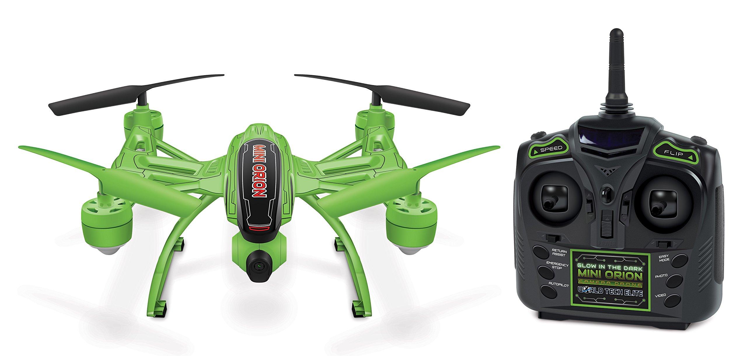 World Tech Toys Elite Mini Orion Glow- In-The-Dark Spy Drone 2.4GHz 4.5CH Picture/Video Camera RC Quadcopter, Glow In The Dark, 12 x 7.75 x 4.25