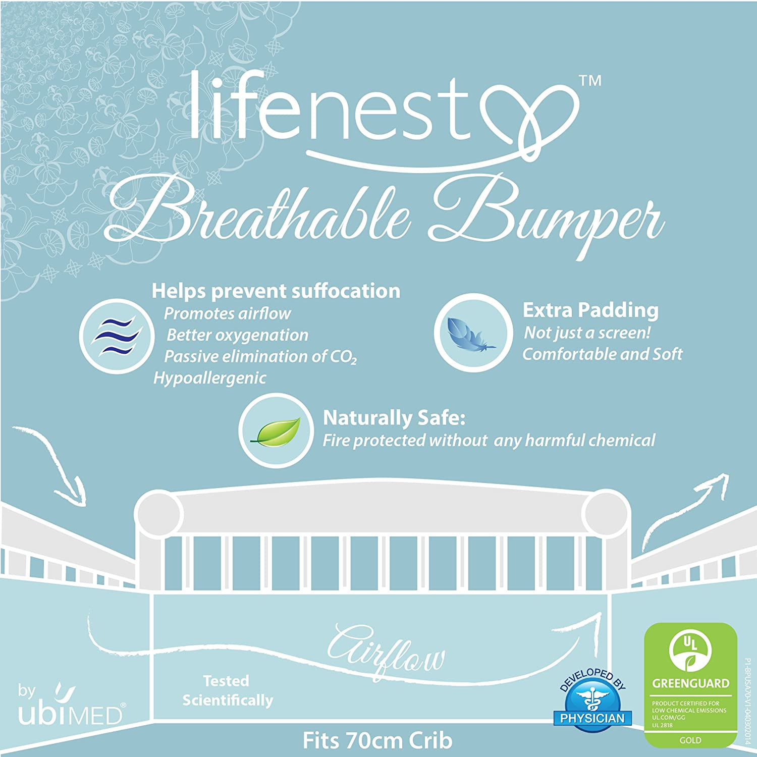 Pink by UBIMED Lifenest Breathable Padded Mesh Crib Bumper