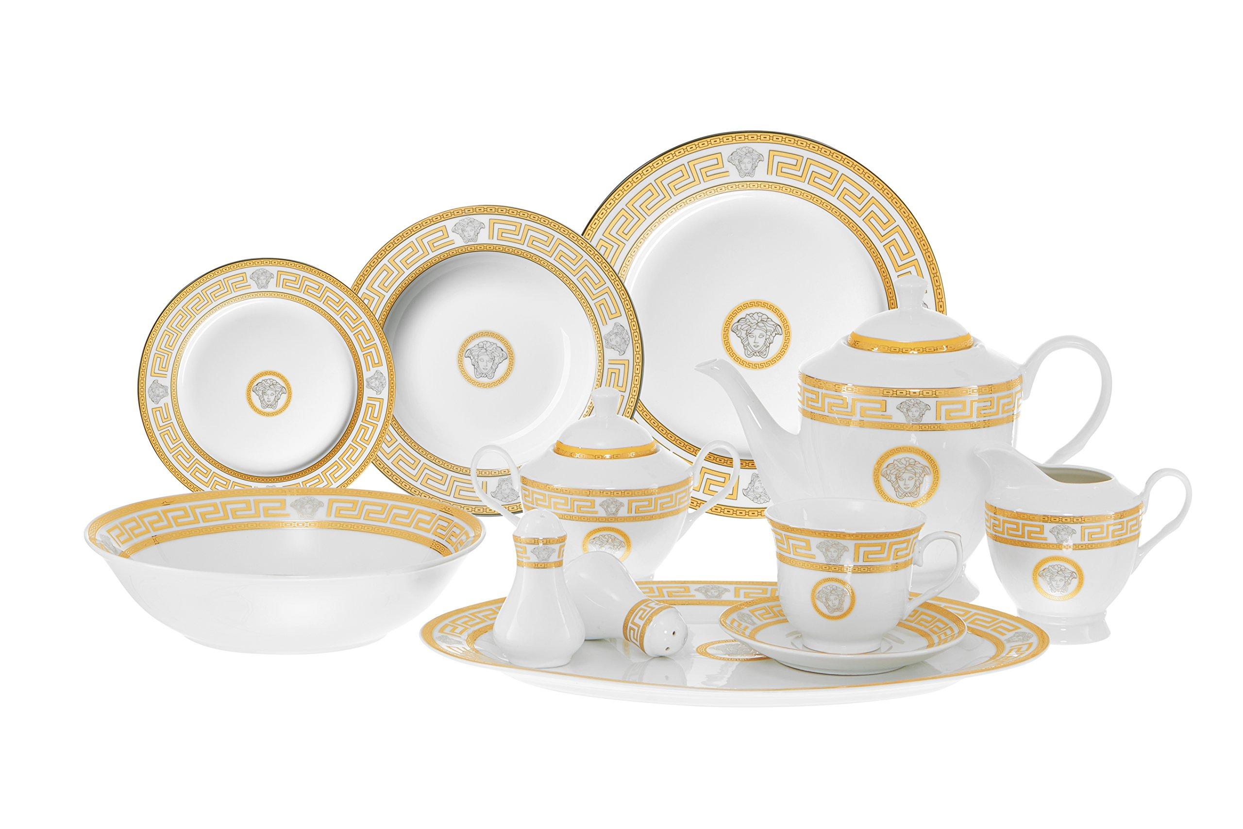 Italian Style Greek Key 49 Piece Porcelain Dinnerware Set Service for 8 - Gold