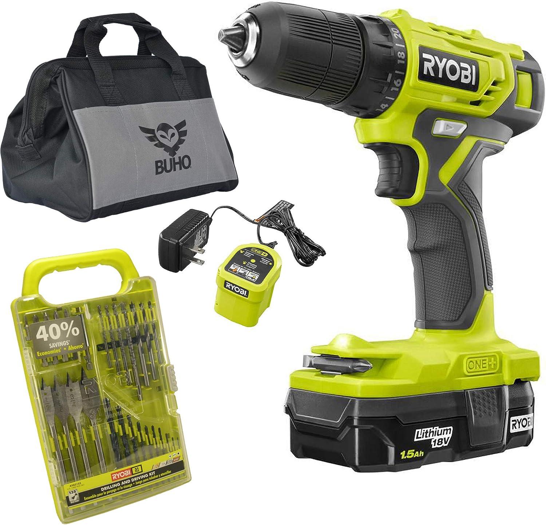 Ryobi Drill Set Bundle with Ryobi 18V ONE+ Drill, Drill Bits, and Buho Tool Bag