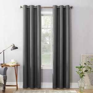"""No. 918 Montego Casual Textured Grommet Curtain Panel, 48"""" x 84"""", Charcoal Gray"""