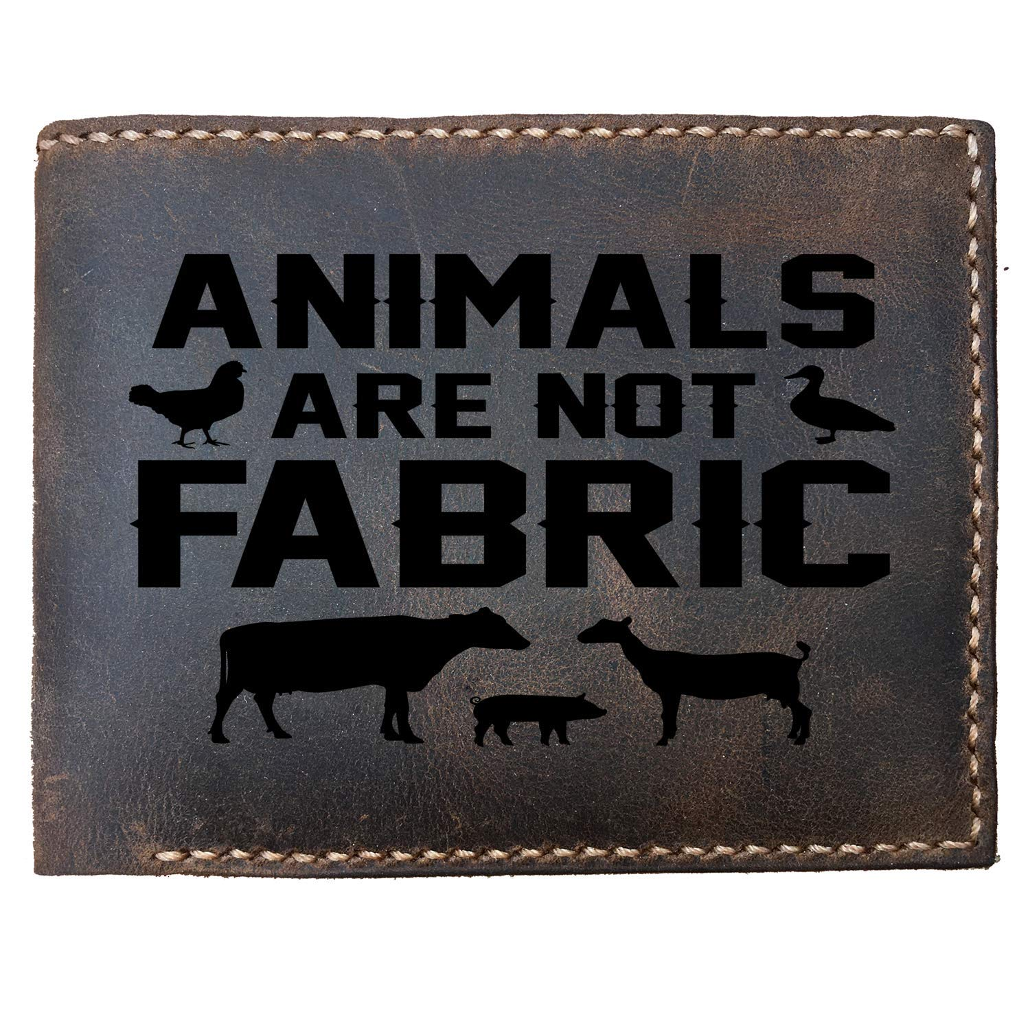 Lobsteray Animals are not Fabric Custom Laser Engraved Leather Bifold Wallet for Men
