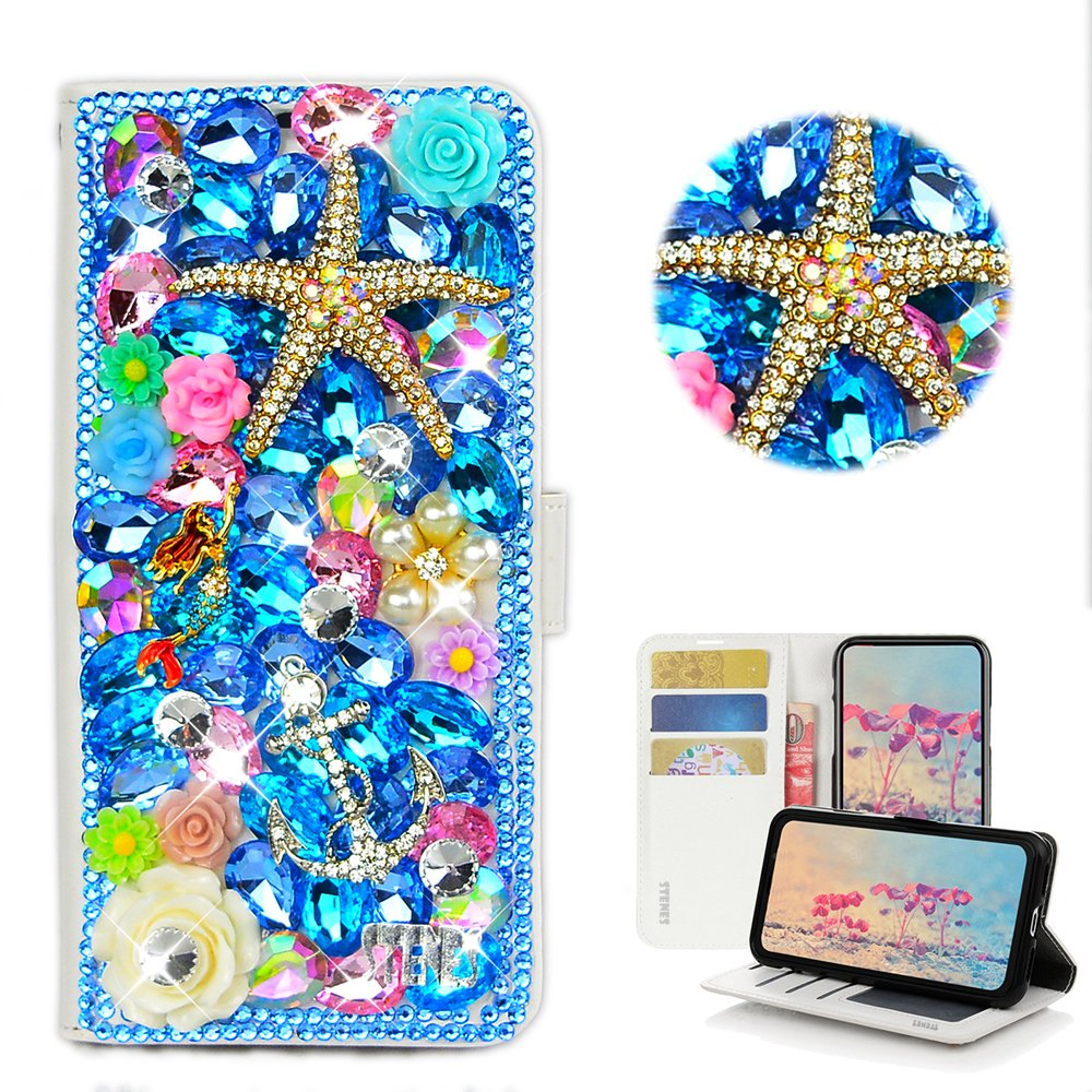 STENES Galaxy S9 Case - Stylish - 3D Handmade Crystal Starfish Mermaid Anchor Flowers Design Wallet Credit Card Slots Fold Stand Leather Cover for Samsung Galaxy S9 - Navy Blue