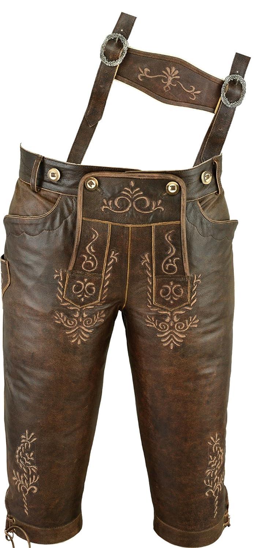 Kniebundhose Leder Antik Nappa- Trachtenlederhose Herren- Damen Kniebundlederhose -Trachten Lederhose mit Träger in antik braun Trachtenhose Knielang aus echt Leder