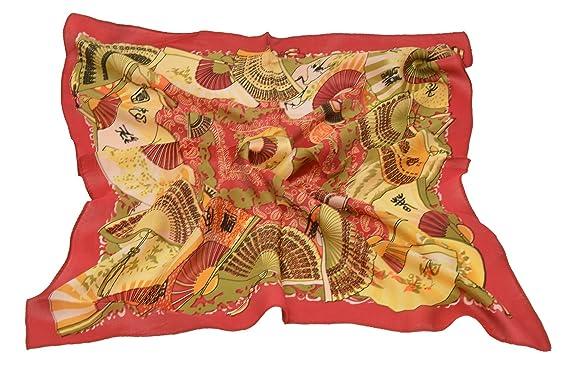 Fête des Mères Petit motif foulard Carré version coréenne Imprimée des  éventail chinois soie Rouge 76f0ee05c14
