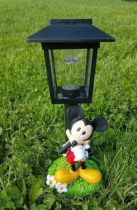 9 Inch Disney Mickey Mouse Solar Lamp Post Light Up Garden Statue