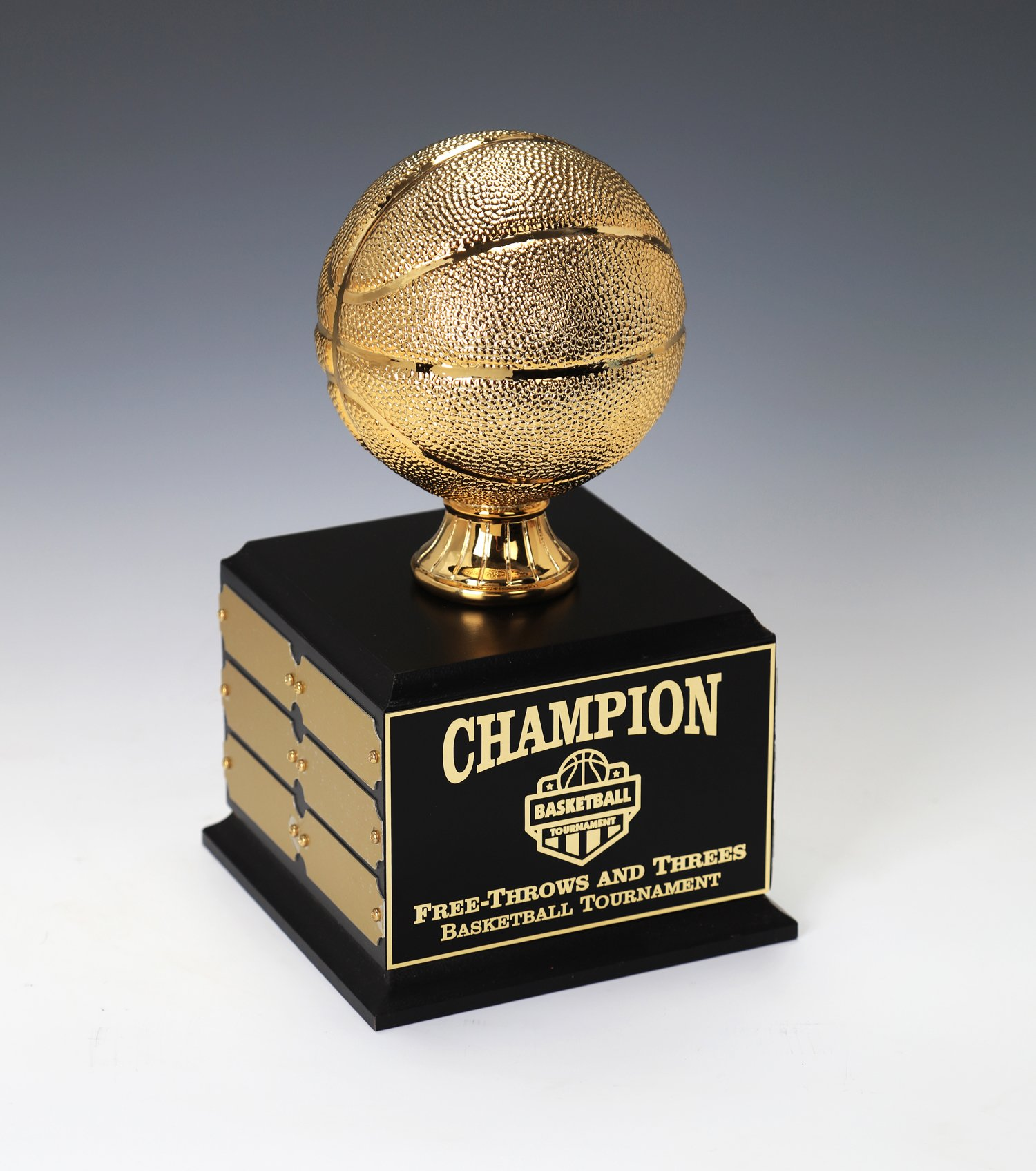 Basketball Perpetual Trophy, Gold Chrome Basketball, 12 year, Custom Engrave Online When you Order