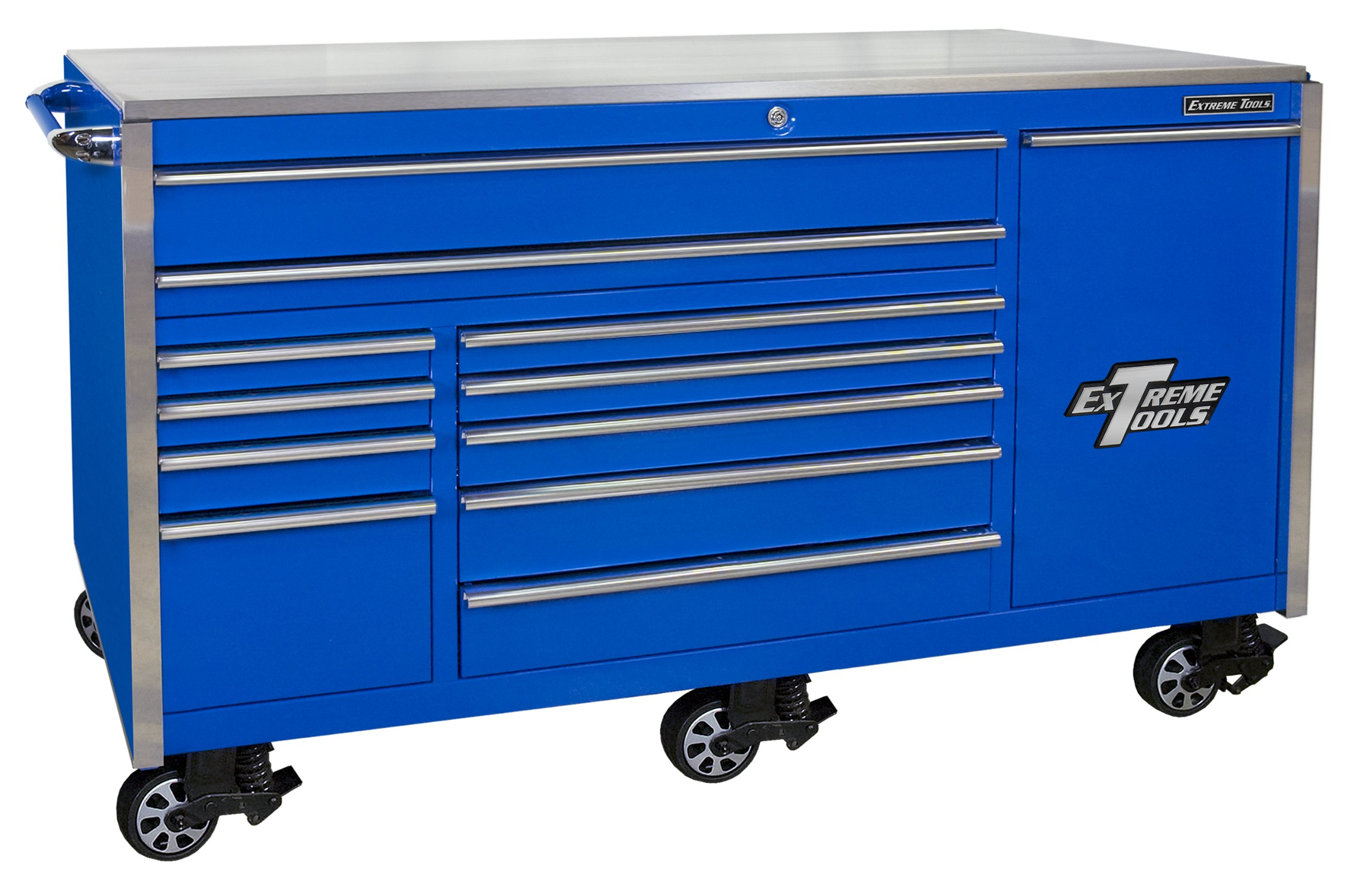 Extreme Tools EX7612RCBL 12-Drawer Roller Cabinet Vertical Drawer Power Strip with Ball Bearing Slides, 76-Inch, Blue High Gloss Powder Coat