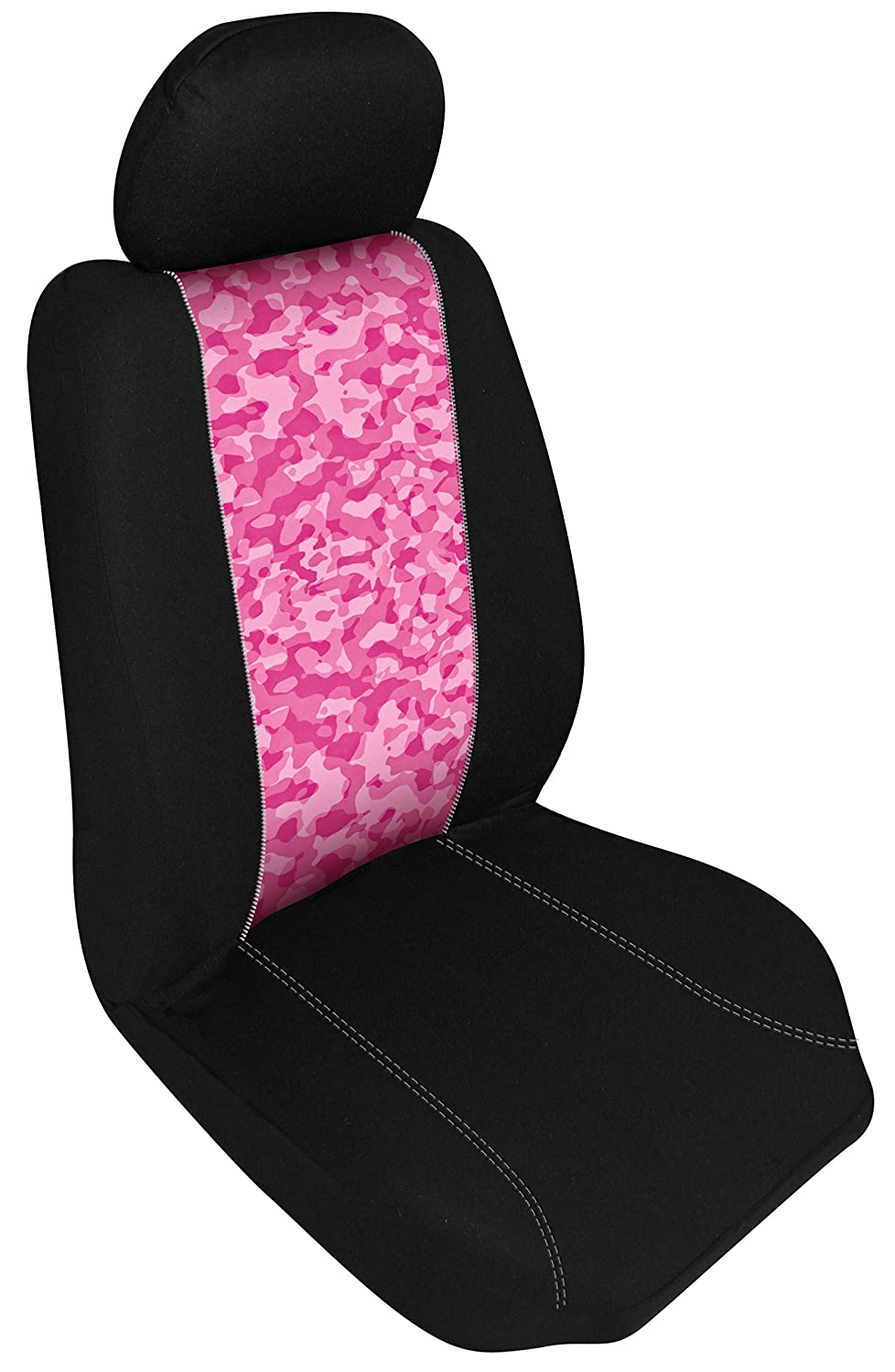 Automotive Innovations E 370504 Multi-Color Polyester Front Bucket Universal Fit Pink Camo Zip Switch Insert