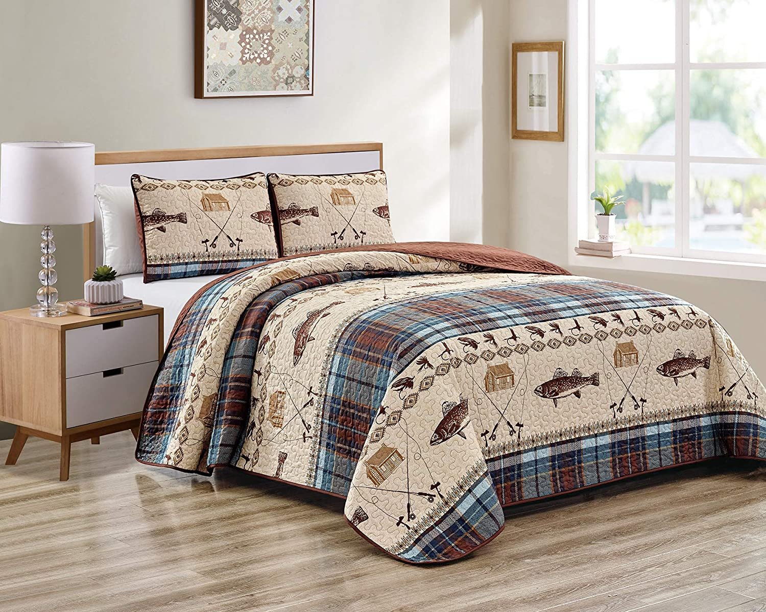 River Fly Fishing Themed Rustic Cabin Lodge Quilt Stitched Bedspread Bedding Set with Fishing Rods Lure with Southwestern Tartan Check Plaid Tweed Patterns Blue Brown - River Lodge (Twin)