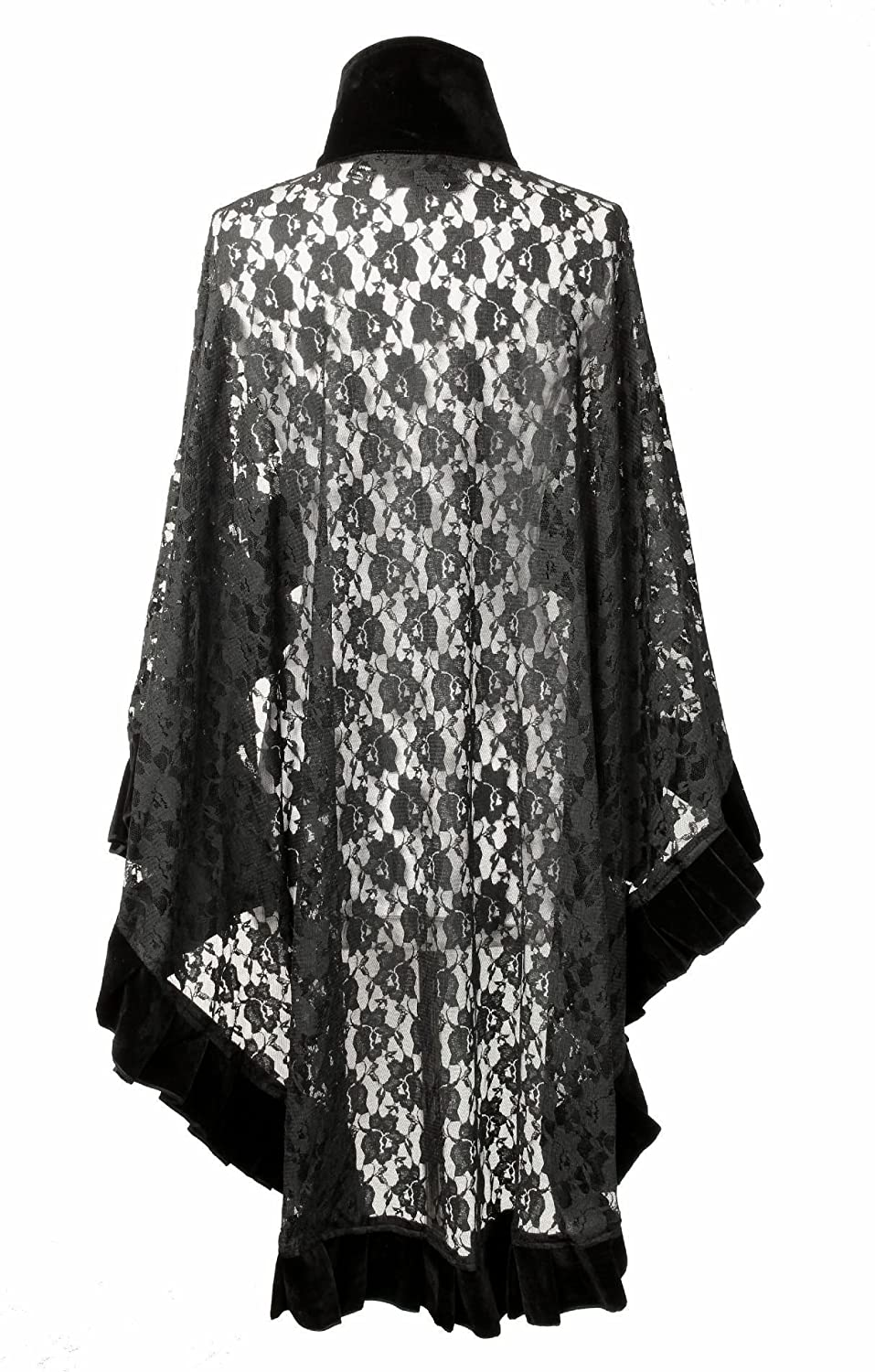 Vintage Coats & Jackets | Retro Coats and Jackets Burleska Womens Catherine Black Lace Cape Wrap With Velvet Trim $68.99 AT vintagedancer.com
