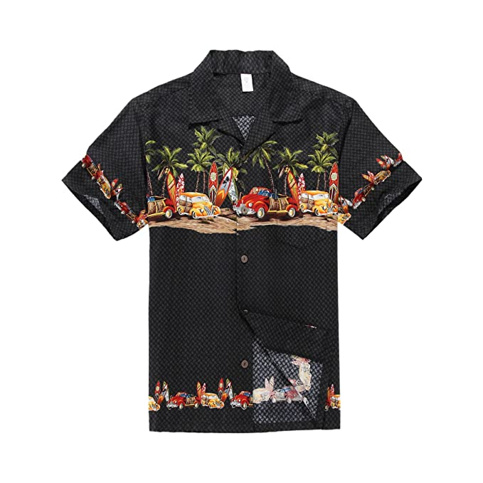 1950s Men's Clothing Palm Wave Mens Hawaiian Shirt Aloha Shirt Luau Shirt $33.00 AT vintagedancer.com
