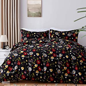 SunStyle Home Duvet Cover Set with Zipper Closure,Full/Queen Size (90x90 inches),Floral Camomile Pattern Printed Reversible,Ultra Soft 100% Brushed Microfiber Material-(1 Duvet Cover +2 Pillowshams)