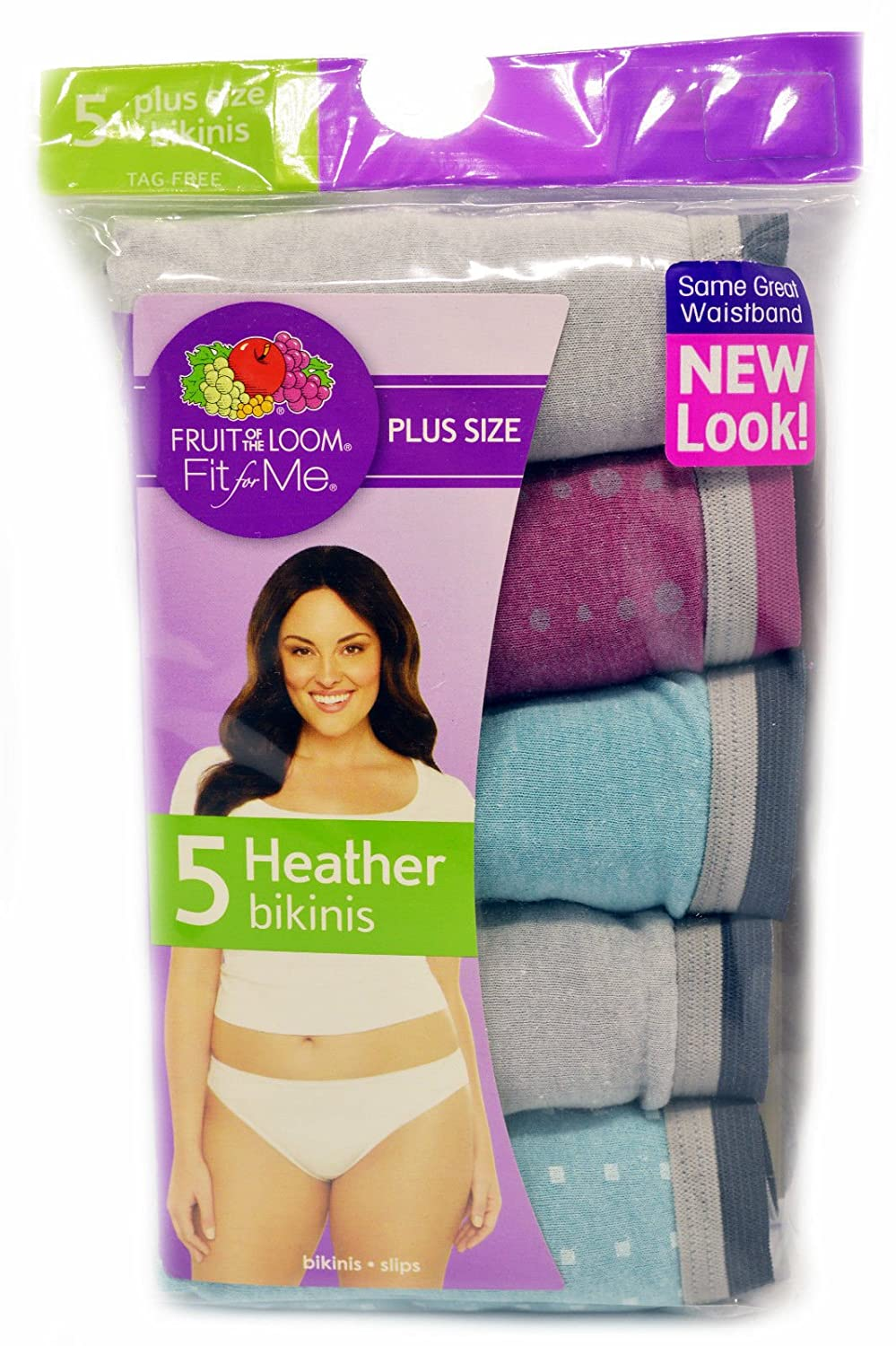 c6c802ec3f6 Fruit of the Loom Womens Fit For Me 5 Pack Heather Brief Panties (9):  Amazon.ca: Luggage & Bags